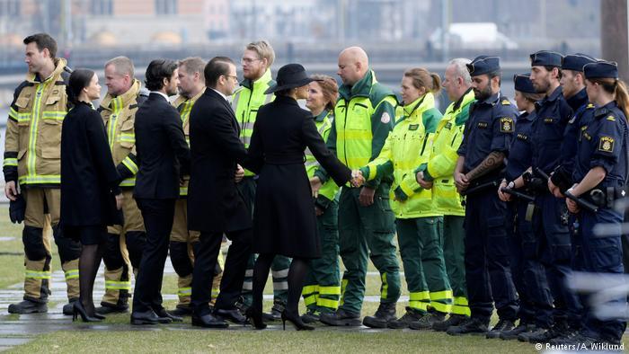مراسم یادبود قربانیان حادثه تروریستی در استکهلم
