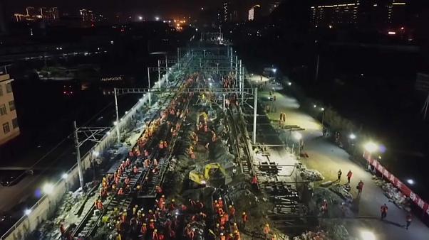 ساخت ایستگاه قطار در کمتر از ۹ ساعت در چین