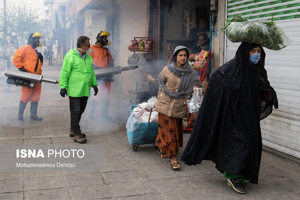 ضدعفونی روزانه معابر و مراکز تردد در شیراز