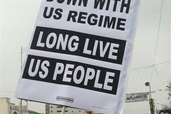 شعارنوشتههای جدید در راهپیمایی 22 بهمن: ما با مردم آمریکا دوست هستیم