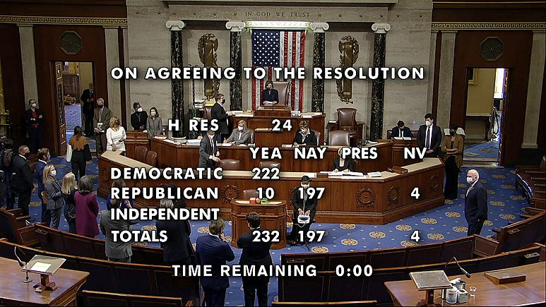 مجلس نمایندگان آمریکا برای دومین بار طرح استیضاح ترامپ را تصویب کرد