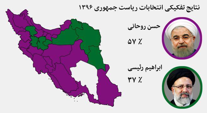 انتخابات ۹۶: استانهای ایران به کدام نامزد رای دادند؟